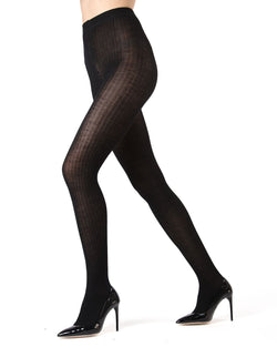 Memoi Black Merino Wool/Tencel Blend Ribbed Tights | Women's Hosiery - Pantyhose - Nylons