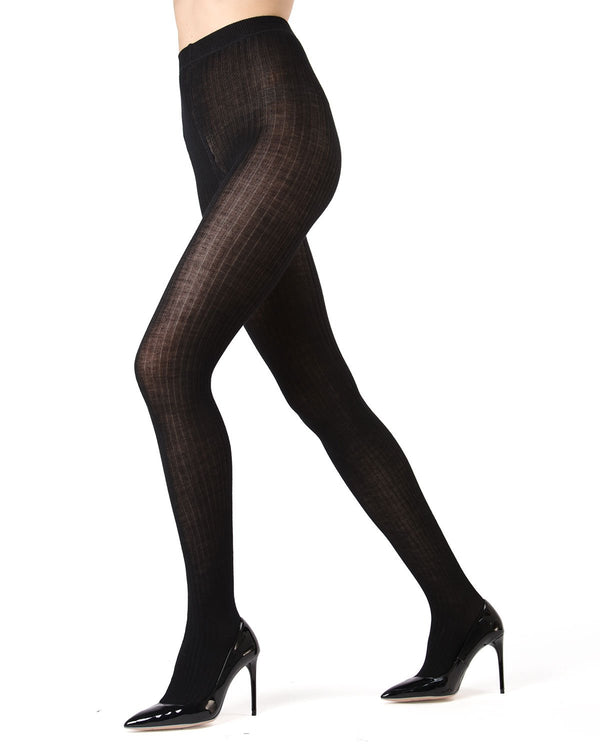 Memoi Merino Wool Ribbed Sweater Tights | Women's Luxury Wool Sweater tights | Hosiery - Pantyhose - Nylons  | Black ML-511