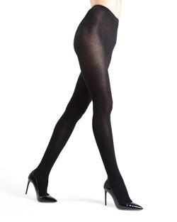 Memoi Black Angora Blend Tights | Women's Hosiery - Pantyhose - Nylons