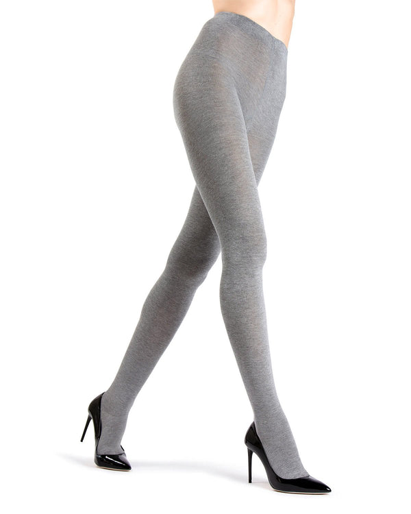 Memoi Heather Grey Angora Blend Tights | Women's Hosiery - Pantyhose - Nylons