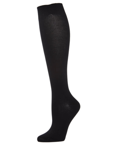 MeMoi Hand-Linked Bamboo Knee High Socks | Eco-Friendly Sensory Socks for Women -ML-515 Black-