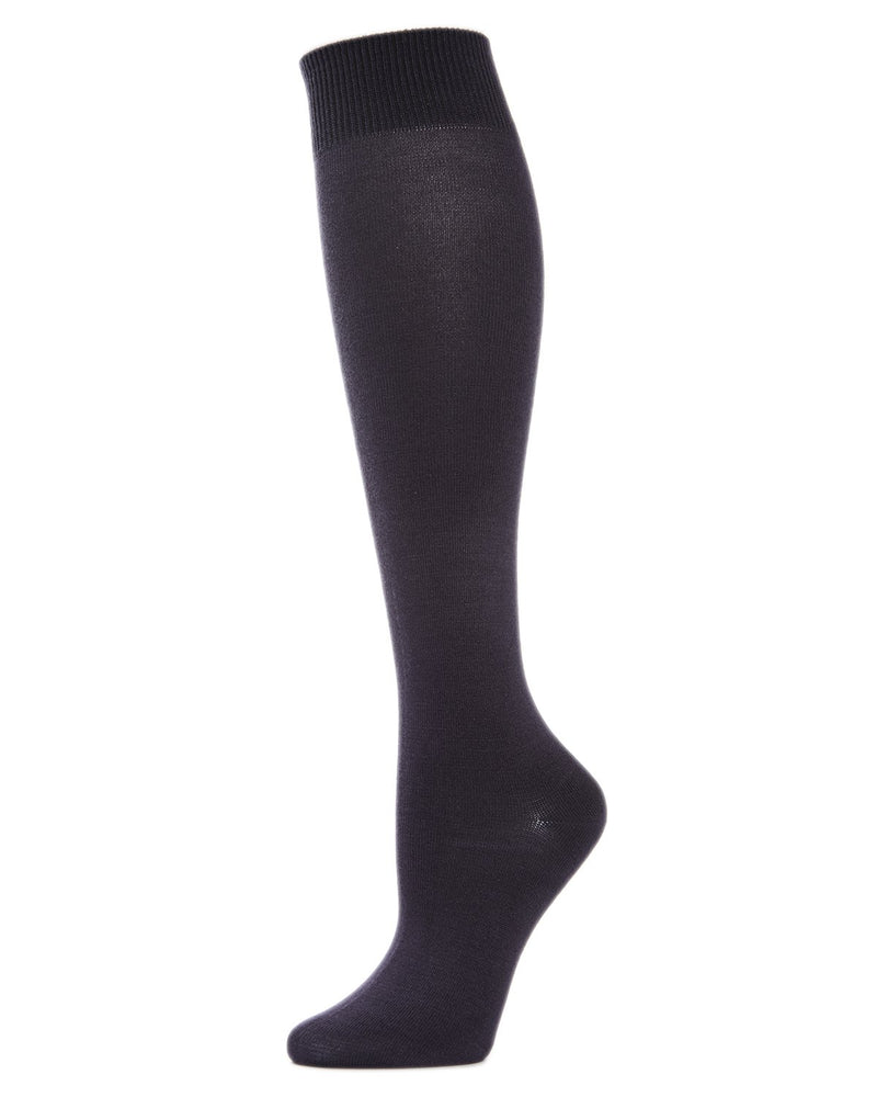 MeMoi Hand-Linked Bamboo Knee High Socks | Eco-Friendly Sensory Socks for Women -ML-515 Charcoal-
