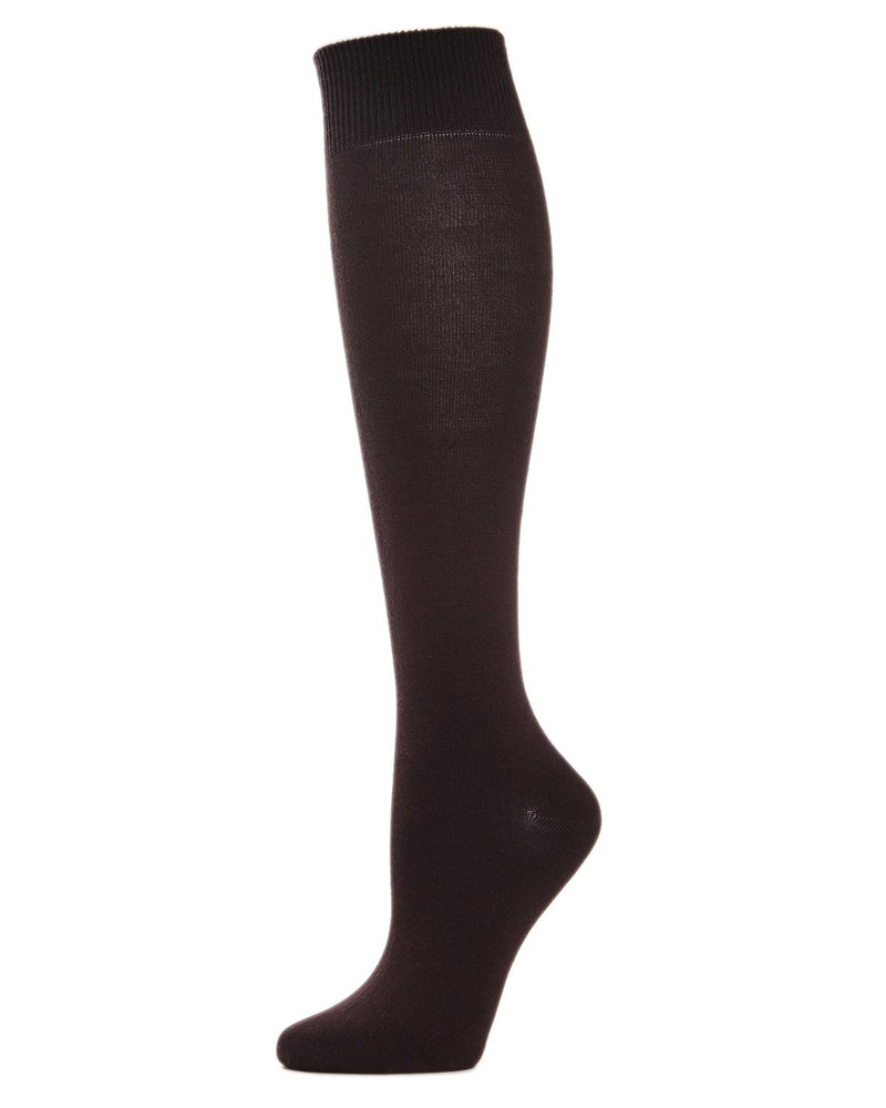 MeMoi Hand-Linked Bamboo Knee High Socks | Eco-Friendly Sensory Socks for Women -ML-515 Espresso-