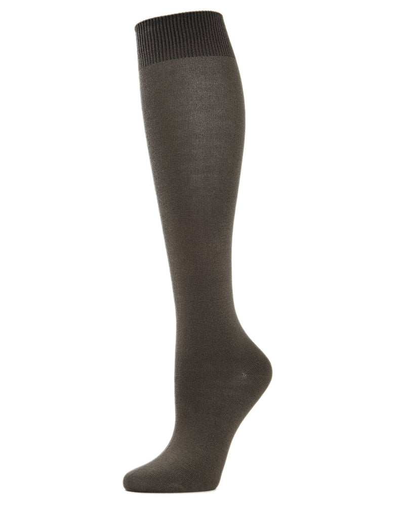 MeMoi Hand-Linked Bamboo Knee High Socks | Eco-Friendly Sensory Socks for Women -ML-515 Military Olive-