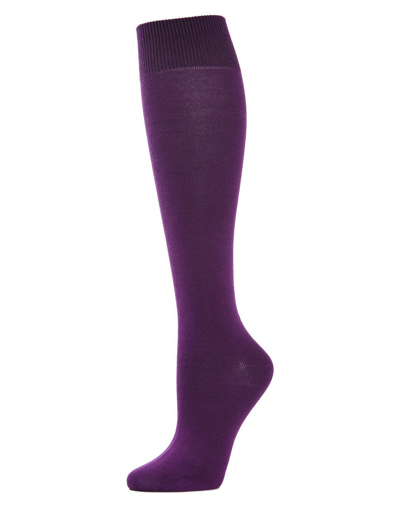 MeMoi Hand-Linked Bamboo Knee High Socks | Eco-Friendly Sensory Socks for Women -ML-515 Purple Passion-