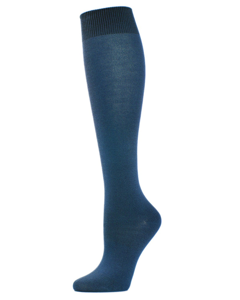 MeMoi Hand-Linked Bamboo Knee High Socks | Eco-Friendly Sensory Socks for Women -ML-515 Teal-