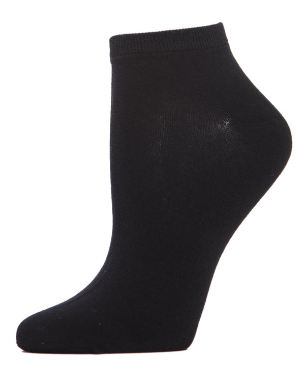 Bamboo Solid Knit Low Cut Socks | Low Cut Socks by MeMoi® | Black ML-517