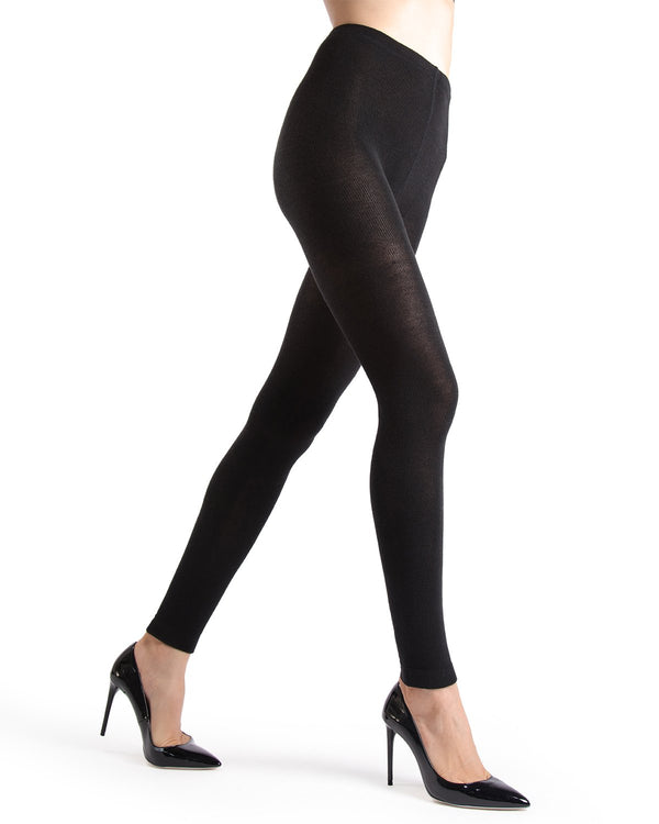Memoi Black Merino Wool/Tencel Blend Footless Tights | Women's Hosiery - Pantyhose - Nylons