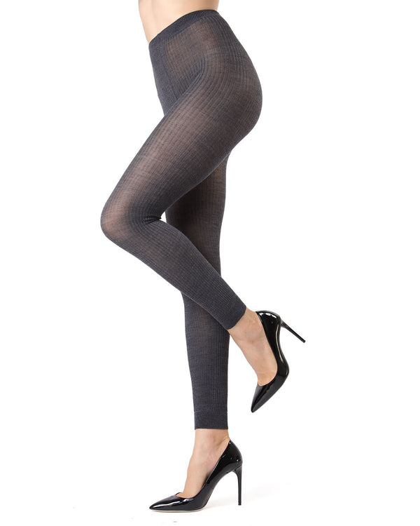 Memoi Dark Grey Heather Merino Wool/Tencel Blend Ribbed Footless Tights | Women's Hosiery - Pantyhose - Nylons