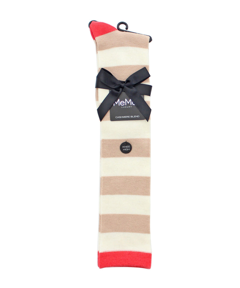 Shaded Stripes Cashmere Blend Knee High Socks | knee high socks | ML-701 | cream pink |