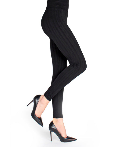 Vertical Chevron Seamless Fleece Lined Leggings