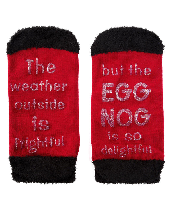 MeMoi Egg Nog Low Cut Socks | Women's Fun Novelty Socks | Merry Christmas Footwear (Bottom) | Red MLV04136