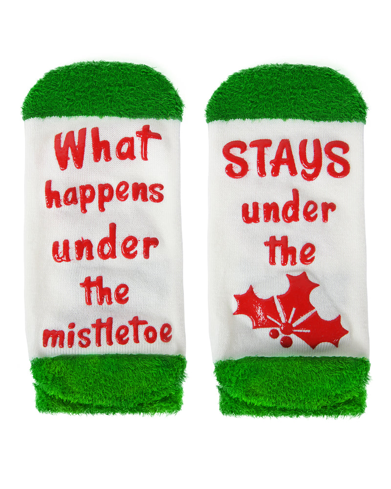 MeMoi Mistletoe Low Cut Socks | Women's Fun Novelty Socks | Merry Christmas Footwear (Bottom) | Winter White MLV04138