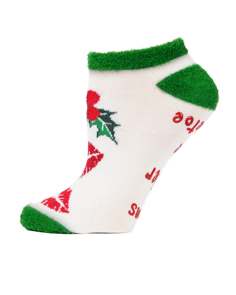 MeMoi Mistletoe Low Cut Socks | Women's Fun Novelty Socks | Merry Christmas Footwear (Side) | Winter White MLV04138