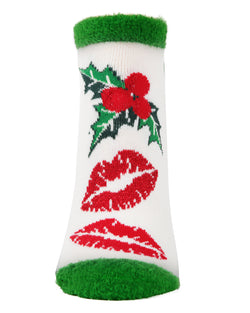 MeMoi Mistletoe Low Cut Socks | Women's Fun Novelty Socks | Merry Christmas Footwear (Front) | Winter White MLV04138