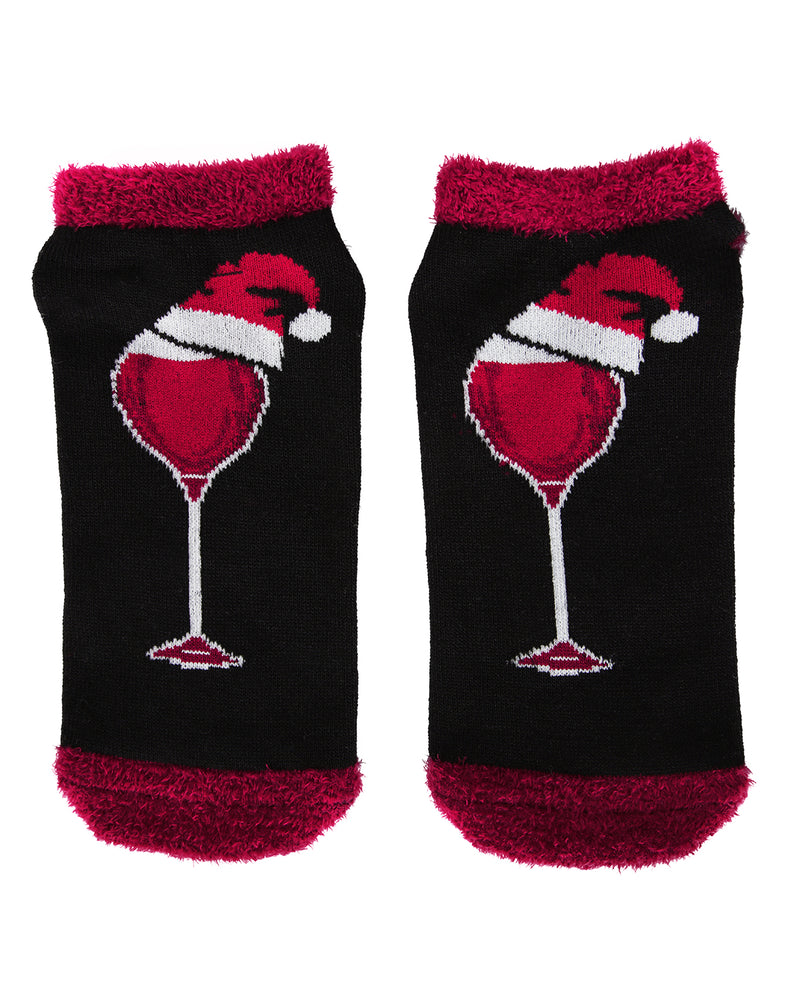 MeMoi Red & White Wine Christmas Low Cut Socks | Women's Fun Novelty Socks | Merry Christmas Footwear (Front-02) | Black MLV04139