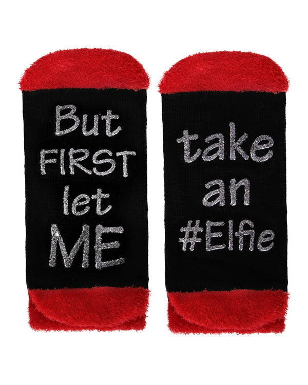 MeMoi Take an Elfie Low Cut Socks | Women's Fun Novelty Socks | Merry Christmas Footwear (Bottom)| Black MLV04140