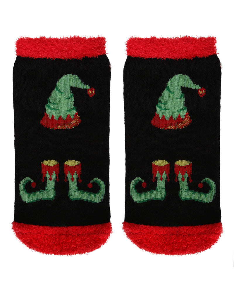 MeMoi Take an Elfie Low Cut Socks | Women's Fun Novelty Socks | Merry Christmas Footwear (Front-02)| Black MLV04140