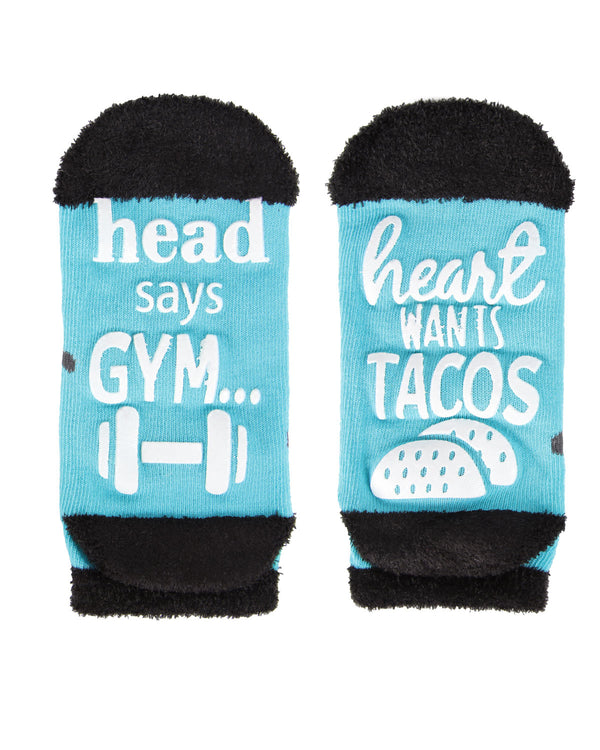Head Says Gym Heart Wants Tacos Low Cut Socks | Socks By MeMoi®  | MLV05683 | Teal 1