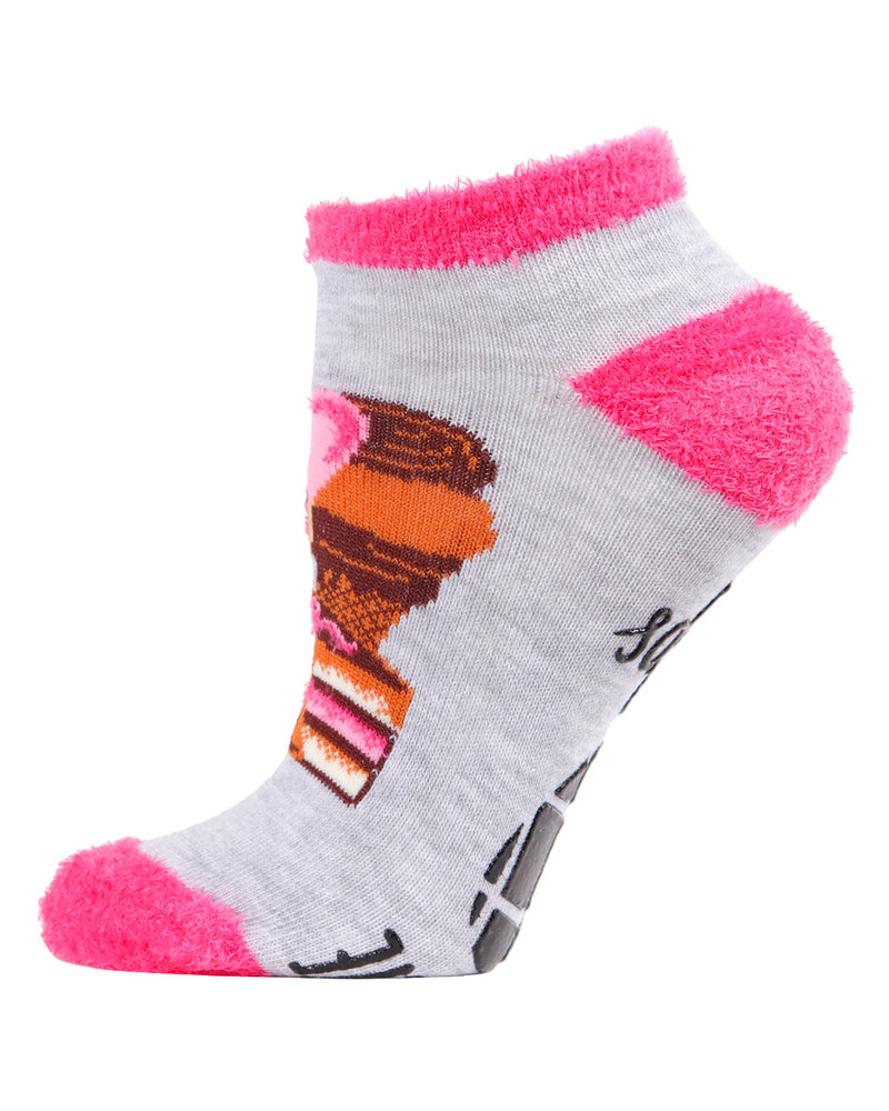 Life Happens Chocolate Helps Low Cut Socks | Socks By MeMoi®  | MLV05684 | Light Gray 2