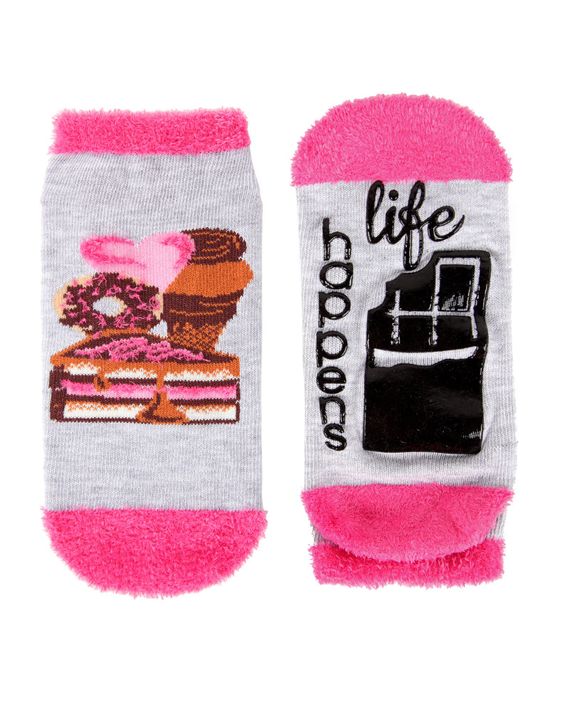 Life Happens Chocolate Helps Low Cut Socks | Socks By MeMoi®  | MLV05684 | Light Gray 3