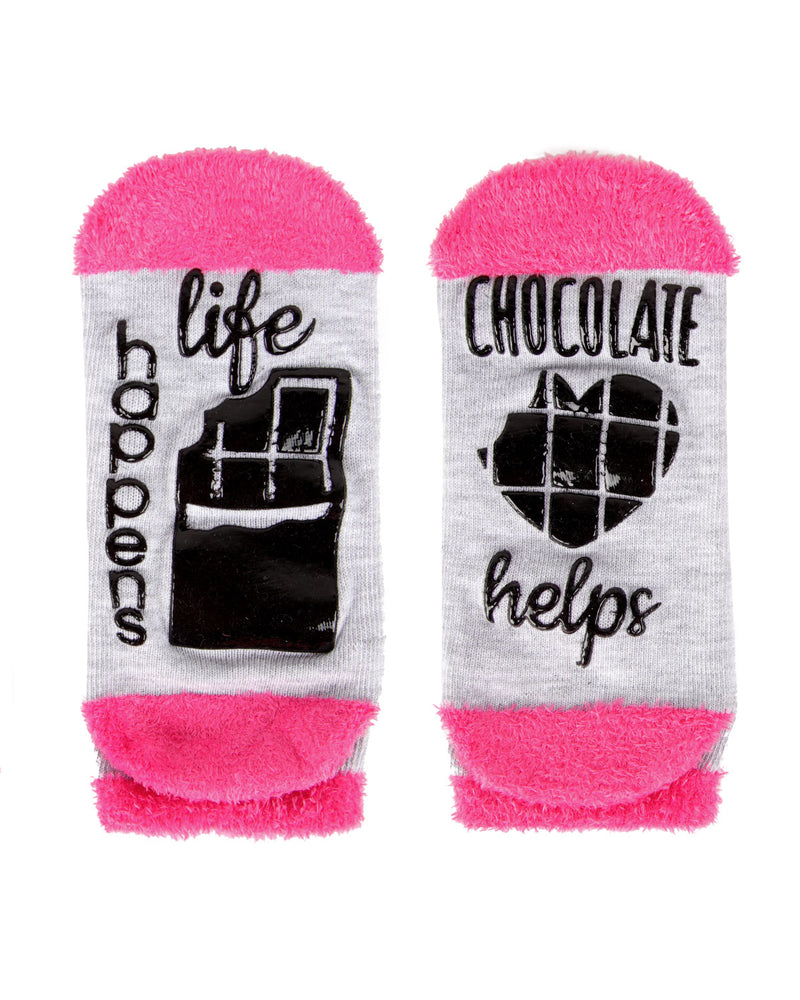Life Happens Chocolate Helps Low Cut Socks | Socks By MeMoi®  | MLV05684 | Light Gray 1