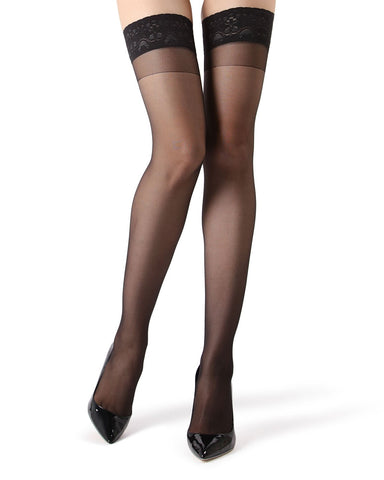 Crystal Sheer Thigh High Stockings | MeMoi® Women's Thigh Highs | Womens Clothing | Black MM-110