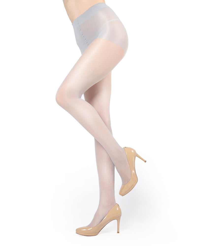 Shimmer Sheer Control Top Tights Pantyhose - Hosiery - Tights | Silver MM 211