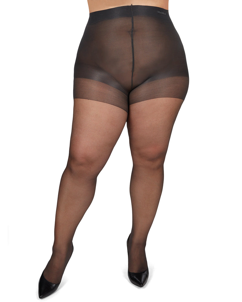 Plus Size Curvy Silky Sheer Control Top Pantyhose