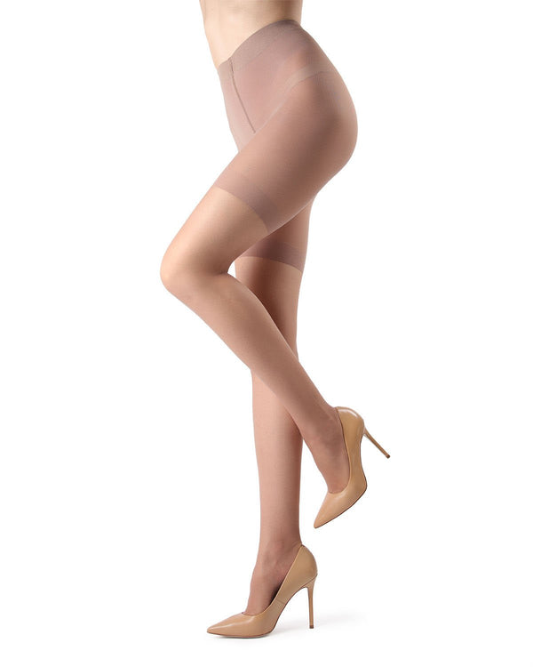 MeMoi Crystal Sheer Shaper Top Tights | Women's Best Control Top Shaping Tights | Hosiery - Pantyhose - Nylons | Suntan MM-224
