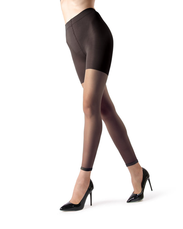 MeMoi Sheer Footless Capri Shaper Tights | Women's Best Control Top Shaping Tights | Hosiery - Pantyhose - Nylons  | Black MM-226