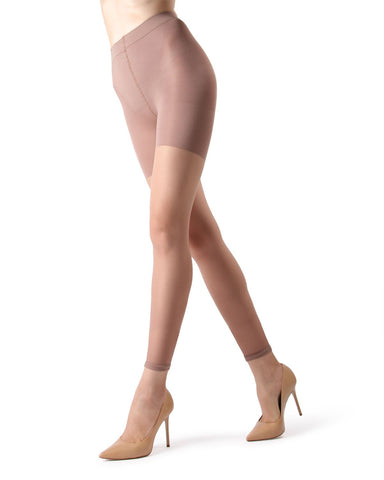 MeMoi Sheer Footless Capri Shaper Tights | Women's Best Control Top Shaping Tights | Hosiery - Pantyhose - Nylons  | Honey MM-226