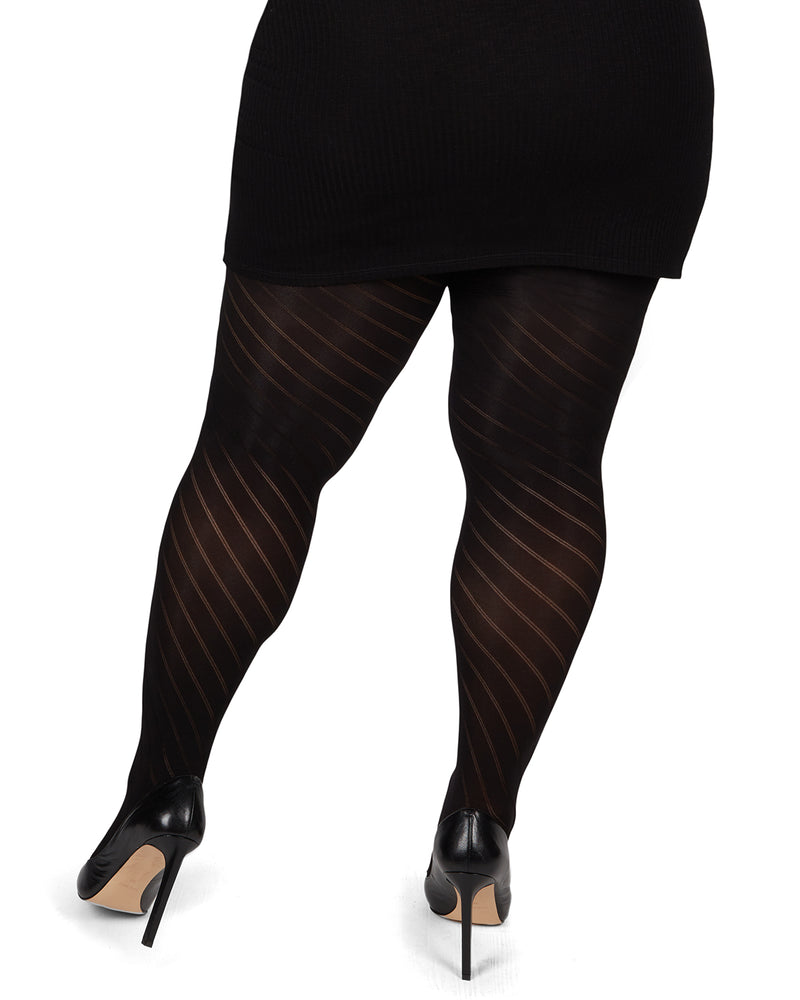 MeMoi Spiral Opaque Plus Size Curvy Control Top Tights
