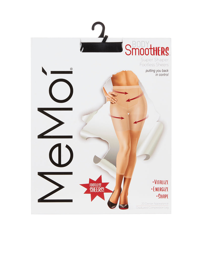 Super Shaper Footless Sheers | BodySmootHers Shapewear Compression Tights by MeMoi | Black MM-291