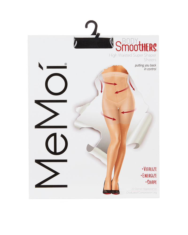 High Waisted Super Shaper Sheers | BodySmootHers Shapewear Compression Tights by MeMoi | Black MM-294