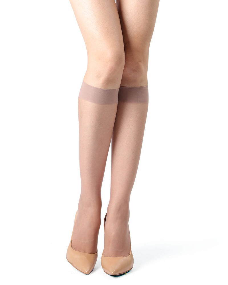 MeMoi Crystal Sheer Knee High Stockings | Women's Best Knee High Stockings | Hosiery - Pantyhose - Nylons | Honey MM-410