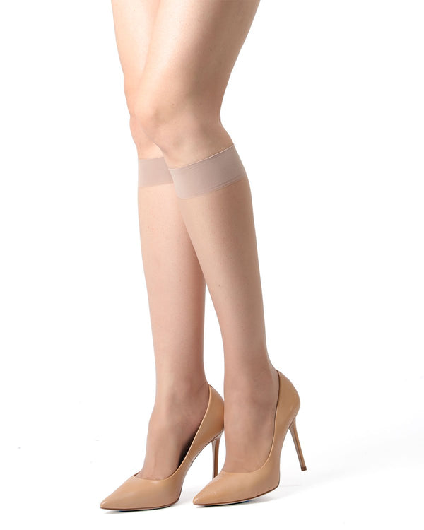 MeMoi Crystal Sheer Knee High Stockings | Women's Best Knee High Stockings | Hosiery - Pantyhose - Nylons | Nude MM-410