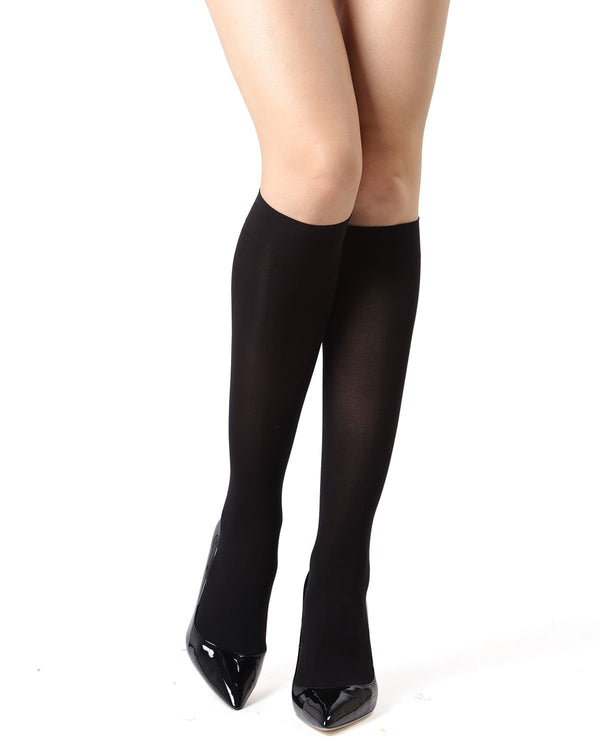 MeMoi Microfiber Opaque Knee Highs Stockings | Women's Best Tights | Hosiery - Pantyhose - Nylons | Black MM-480