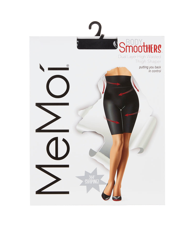 Dual Layer High Waisted Thigh Shaper | BodySmootHers Compression Shapewear by MeMoi | Black MM-516