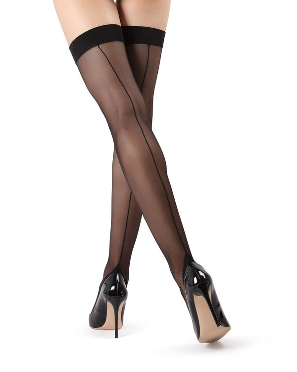 Backseam Thigh Highs Stockings | Women's Thigh Highs with cuban heels by MeMoi® | Womens Clothing | Black MM-612