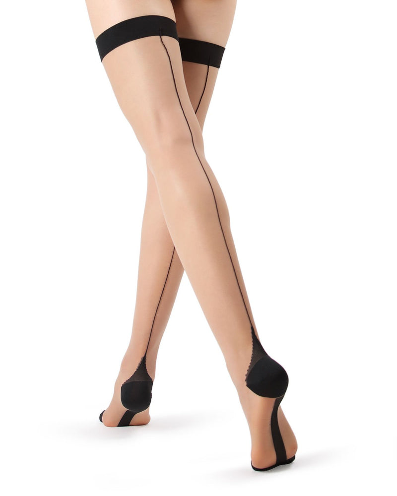 Backseam Thigh Highs Stockings | Women's Thigh Highs with cuban heels by MeMoi® | Womens Clothing | Nude/Black MM-612