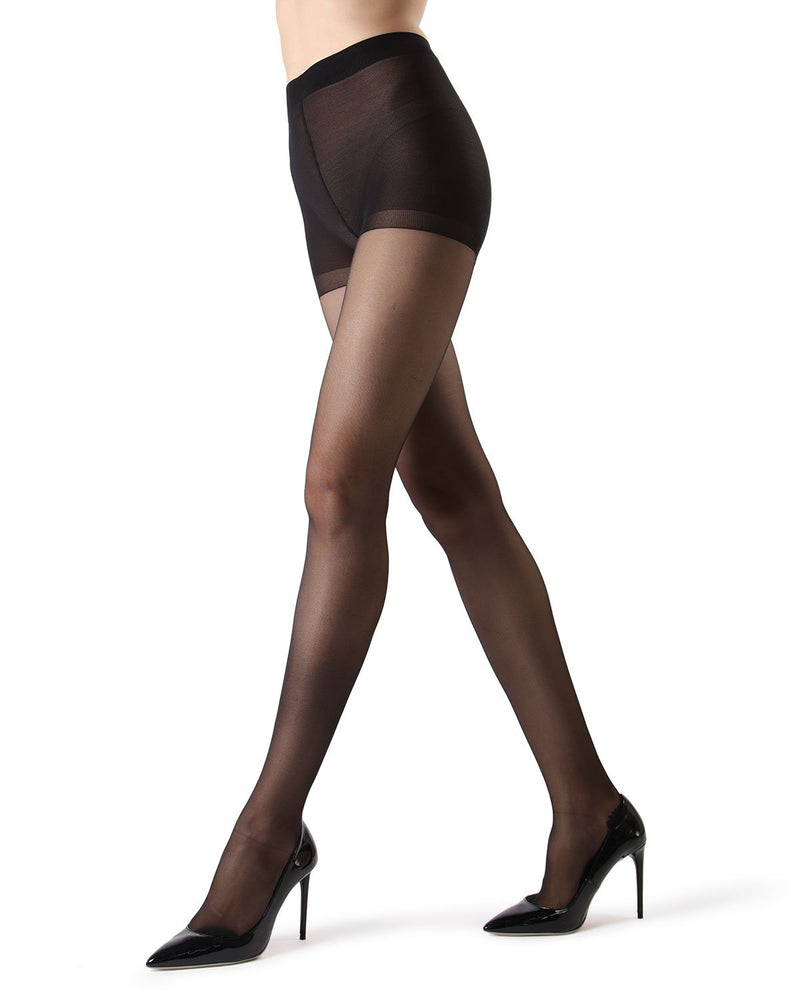 Control Top Pantyhose with Backseam & Cuban Heels | Women's tights  by MeMoi® | Womens Clothing |  Black/Black MM-618