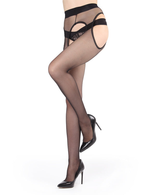 Killer Curves Suspender Pantyhose | Women's Sheer Tights by MeMoi | Black MM-619