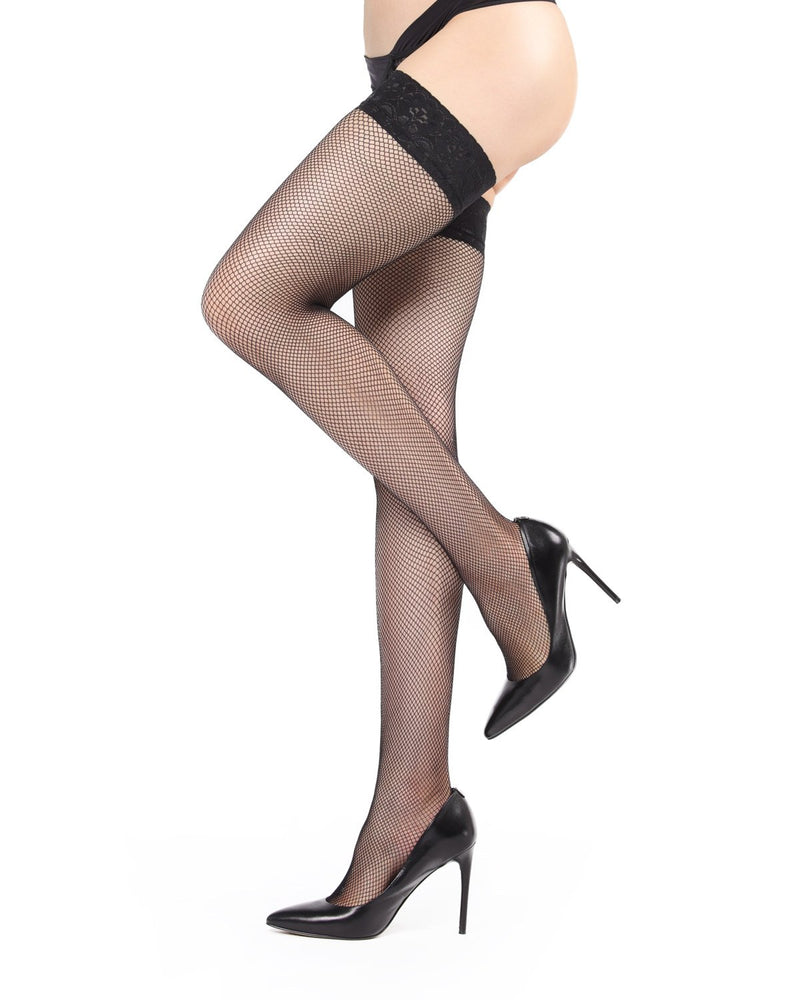 Fishnet Lace Top Thigh Highs Stockings | Women's Thigh Highs by MeMoi® | Hosiery - Pantyhose - Nylons | Black MM-622