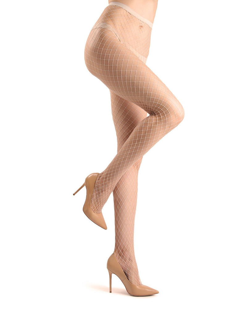 Ultra-wide maxi fishnet tights | Fishnet Stockings | MeMoi Women in tights MM-633 -Nude