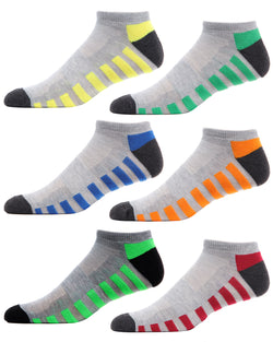 Color Track Half Cushioned 6 Pair Pack Low Cut Socks