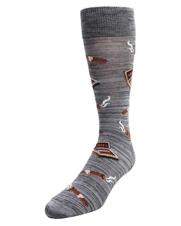 MeMoi Smoker's Delight Cigar Socks | Men's Fun Crazy  Novelty Socks | #sockgame | Asphalt MMF-000002