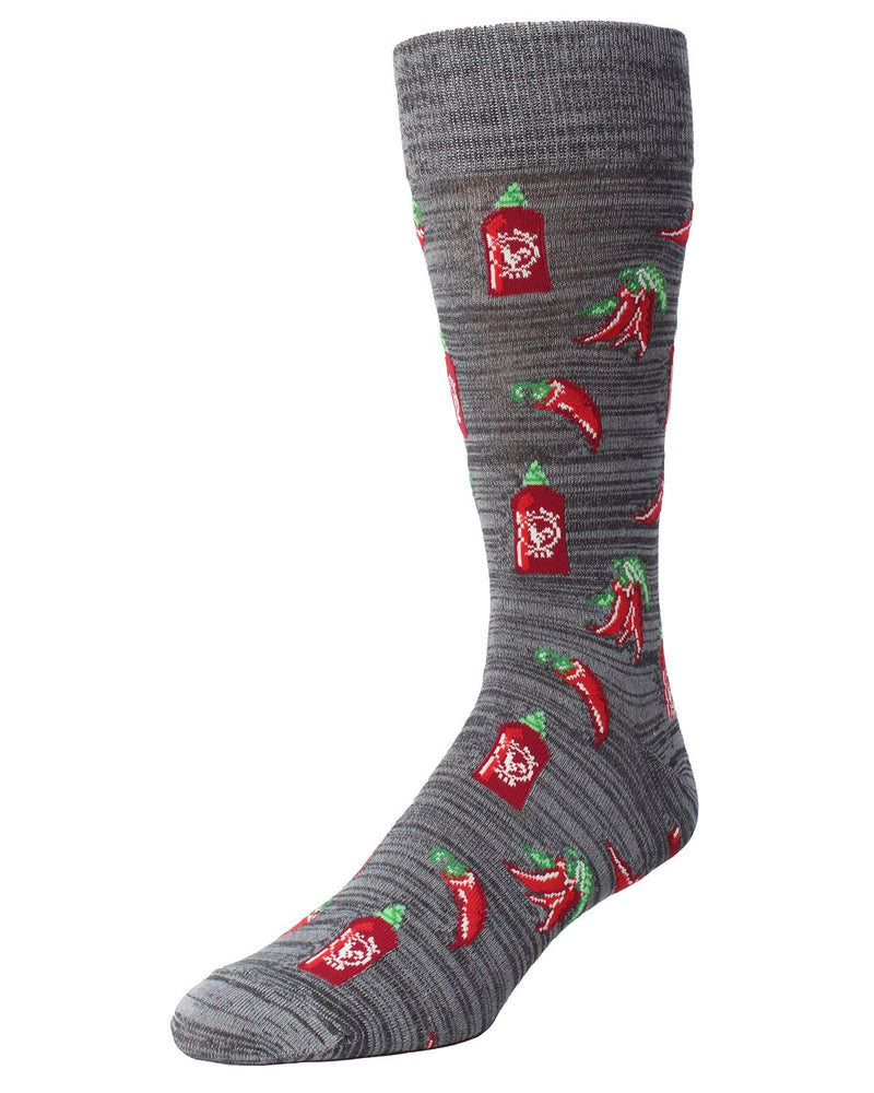 MeMoi Hot Stuff Sriracha Socks | Men's Fun Crazy Novelty Socks | Sock Game | Asphalt MMF-000006