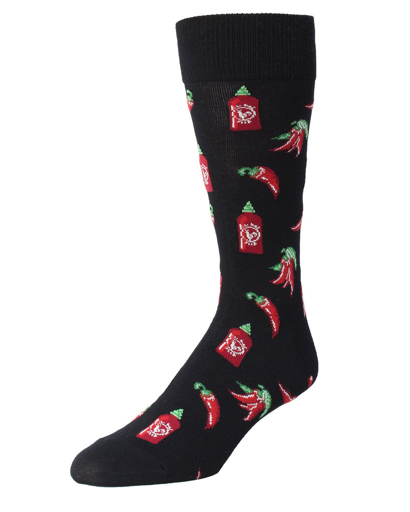 MeMoi Hot Stuff Sriracha Socks | Men's Fun Crazy Novelty Socks | Sock Game | Black MMF-000006