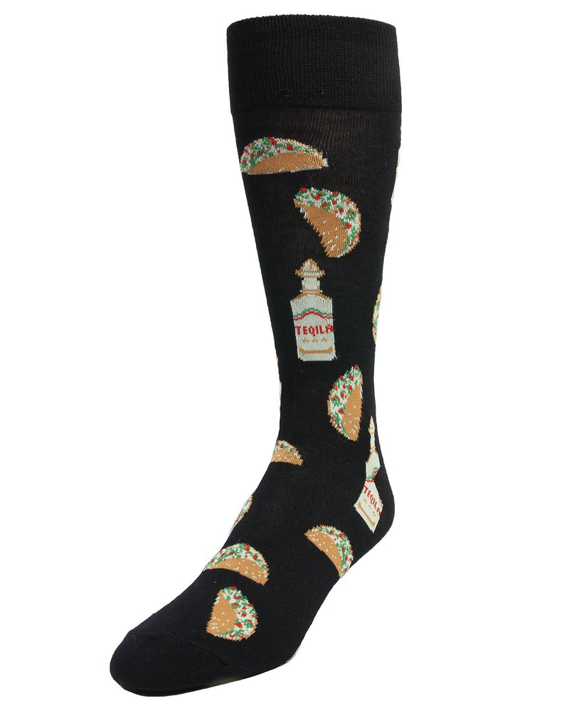 Taco Tuesday Socks | MeMoi Mens Novelty Sock Collection | #SockGame fun socks for men | Black MMF 000007